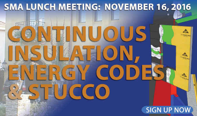SMA November 16 meeting on continuous insulation and stucco